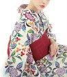 浴衣(ゆかたyukata) 源氏物語浴衣(ゆかた) 紅型調 手縫い仕立て付き 17005 麻30%・綿70% (染色方法・注染) (仕立て無しの反物のみも可)