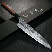 伝統工芸品越前打刃物黒崎優鍛造槌目ダマスカスV金10号牛刀210mm7寸包丁VG10