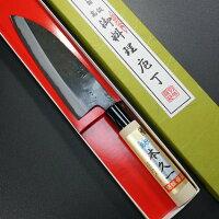 包丁三徳160mm本久一白紙鋼黒打朴木柄本久一刃物日本製