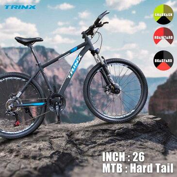 【送料無料】【マウンテンバイク】2020年新モデル ダブルディスクSHIMANO 21段変速超軽量アルミAL6061マウンテンバイクMTB ブロックタイヤ 26インチハードテールかっこいいTRINX M136-20