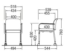 CM105-MXC_X4スタッキングチェアミーティングチェア会議椅子4本脚キャスター付紛体塗装肘付ビニールレザー張り【同色4脚セット】