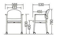 CM219-CYC_X1ミーティングチェア会議椅子4本脚キャスター付クロームメッキ肘付布張り