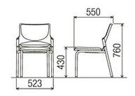 CM300P-MX_X4ミーティングチェア会議椅子4本脚粉体塗装肘なしポリウレタンレザー張り【同色4脚セット】
