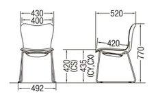 CM520-CY_X1ミーティングチェア会議椅子ループ脚クロームメッキ肘なし布張り