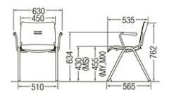 CM701-MS_X1ミーティングチェア会議椅子4本脚粉体塗装肘付パッドなし