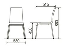 CD220-MX_X1リフレッシュチェアダイニングチェア4本脚クロームメッキ肘なしビニールレザー張り