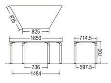 TM440-MZ台形:幅165×奥行71.5×高さ70cmミーティングテーブル会議テーブル4本脚ブラック脚