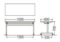 TM1560TF-M長方形:幅150×奥行60×高さ70cmミーティングテーブル会議テーブルスタック塗装キャスター付幕板無し