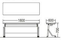TM1860LS-MG長方形:幅180×奥行60×高さ70cmミーティングテーブル会議テーブルスタック塗装脚キャスター付幕板付き