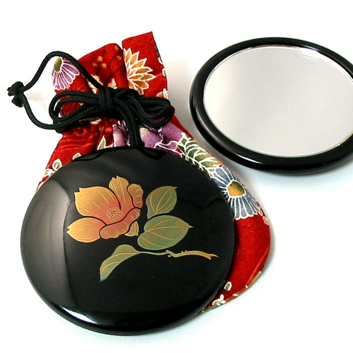 コンパクトミラー プチ手鏡 誕生花(名入れ・送料無料)女性の誕生日プレゼント 和のギフト 漆器