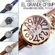 送料無料 (定形外郵便配送可能/3個まで) トップリューズ式ビッグフェイス腕時計 プレーンタイプ47mm GaGa MILANO ガガミラノ好きに(全4色/ブラウン ブラック ブルー ホワイト)