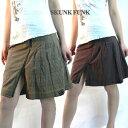 SKUNKFUNK スペイン発 インポート ファスナースリット入り チェック柄ミニスカート (2色/ブラウン イエロー) スカンクファンク