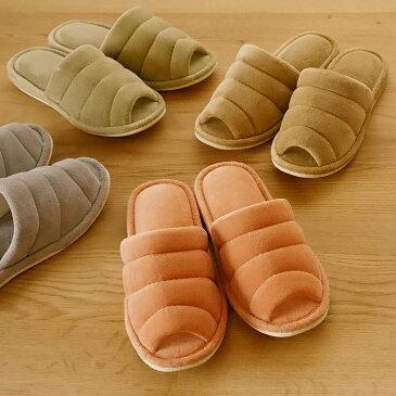 綿パフステッチ(おしゃれなルームシューズ) レディース 用 全4色 約22〜24.5cm かわいい 細身 スマート シンプル やさしい色合い 柔らかい ふわふわ あったか 暖かい 日本製