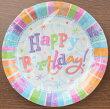 """プリズムプレート7""""ラディアントバースデー8枚入りバースデーパーティー用プレート直径17.5cm×深さ1.5cmPG549980お誕生日飾り付けお祝いお皿"""