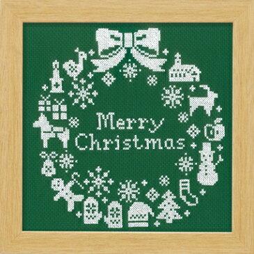 ◆X-101 クリスマスリース(グリーン)初〜中級◆オリムパス クロスステッチ刺繍キット
