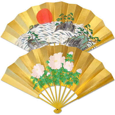 【扇子司 伊藤常】白波に日の出/牡丹