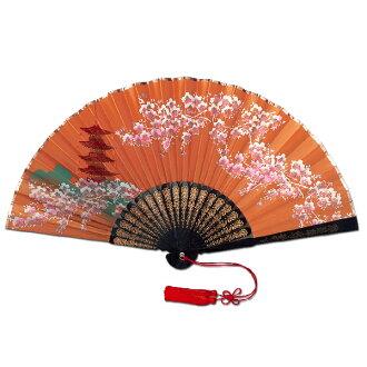 裝飾京都扇子★段子扇子/塔櫻花錢/21cm