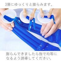 ウォータークールスカーフは吸水して膨らみます