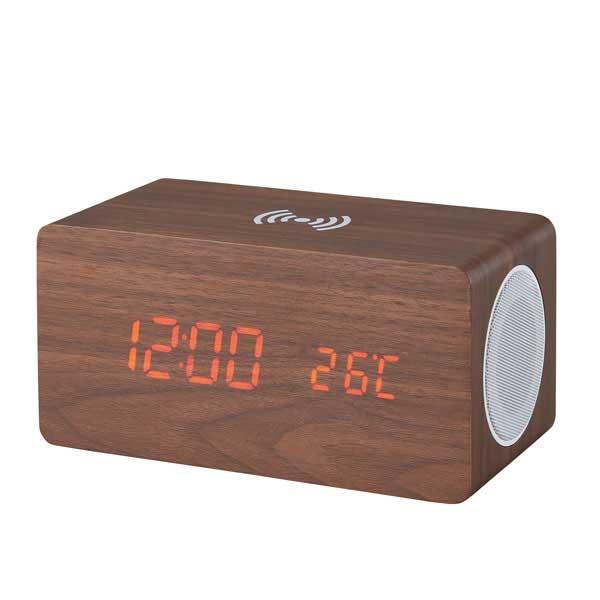 ブルートゥーススピーカー・ワイヤレス充電機能付クロック6183
