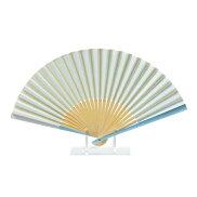 うるし紙扇子アルミ親骨扇子70型25間ライトブルー水色マーガレット