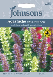 【輸入種子】Johnsons SeedsAgastache Blue & White Mixedアガスターシェ(アニスヒソップ)ブルー&ホワイト ミックスジョンソンズシード