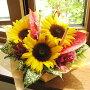ひまわり誕生日フラワーギフト花誕生祝いフラワーアンセリウムギフトお中元【送料無料!】ヒマワリ&アンスリウムのアレンジメント(花かご)3,675円コース