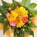 フラワー ギフト 誕生日 お祝い バラ カーネーション ガーベラ 花束 花 かご お誕生日祝い フラワーギフト【楽ギフ_メッセ入力】 【楽…
