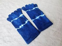 ウール5本指靴下(S)藍染め