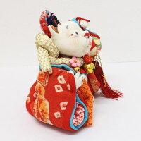 上原装子作古布創作人形「招きにゃんこ」