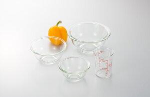 iwaki(イワキ) 耐熱ガラスボウル3点&メジャーカップセット 料理 パーティー ケーキ オーブン 皿 焼き レンジ 耐熱 ガラス 耐熱ガラス かわいい おしゃれ 映え