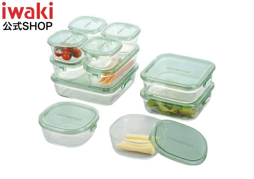 【送料無料】iwaki イワキ 保存容器 11点セット パック&レンジ デラックスセット グリーン 耐熱ガラス ガラス 常備菜 作り置き 安い