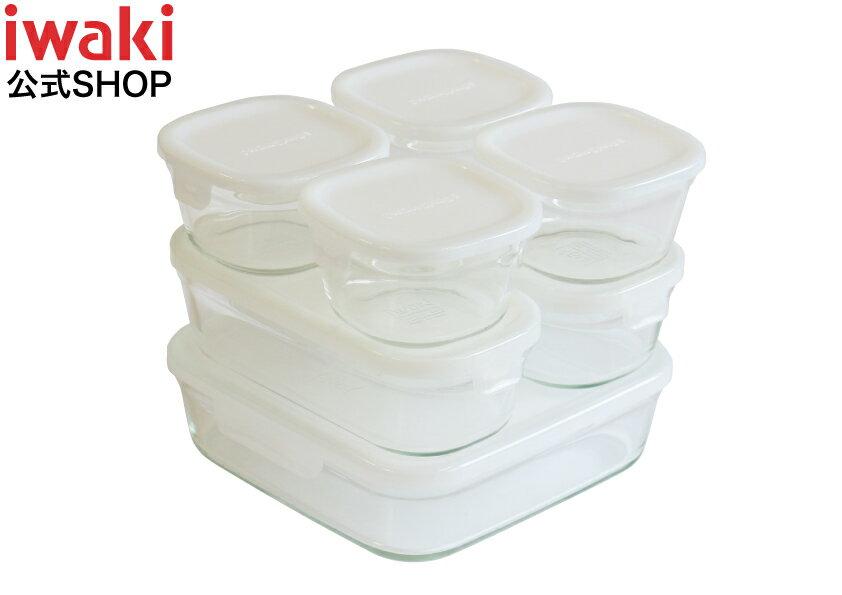 【送料無料】iwaki 保存容器 ホワイト7点 セット 耐熱ガラス 少し透け感のある白です パック&レンジ イワキ 冷凍 からフタを取って オーブン まで 対応 人気 おしゃれ 安い かわいい 作り置き 調理