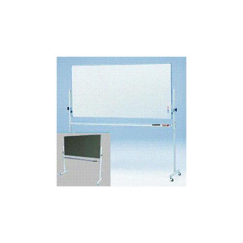 国産JFE黒板・ホワイトボード W1800×H900 移動式脚付 回転式両面 (片面ホワイトボー...