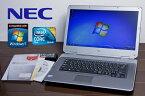 中古ノートパソコン 極上 NEC Office付 Windows7 【送料無料 】 VY25AA-7 中古パソコン Windows7 Home Premium/Core2Duo P8700 2.53GHZ/メモリ 1GB /HDD 80GB/Microsoft Office 2007 選択可 無線LAN外付