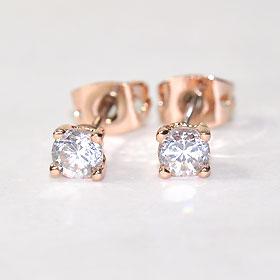 CZ diamond x pink finish ♪ Stud Earrings 4 mm ( チタンポスト )