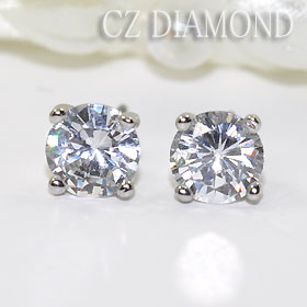 One CZ diamond stud bolt pierced earrings 6mm (the titanium post)