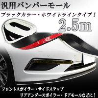 汎用モールバンパーモール2.5Mブラック黒色/白ラインバンパーガードリップスポイラーサイドステップなどに
