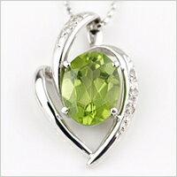 【シックで美しいグリーン♪】 K18ホワイトゴールドペリドット(4月誕生石)ダイヤモンドネックレ...