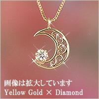 【送料無料】 ロマンチックなムーンフェイス☆三日月 ダイヤモンド ネックレス 10金 ペンダント...