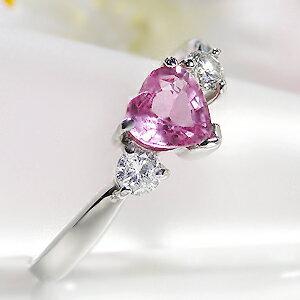 pt900ピンクサファイヤダイヤモンドハートリング