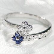 サファイア ダイヤモンド フラワー ホワイト プラチナ サファイヤ ダイアモンド プレゼント