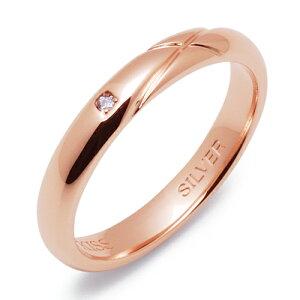 THEKISSシルバーペアリング【レディース・1本売】結婚指輪マリッジリングピンクxクロスxダイヤモンド【_名入れ】◆ふたりの絆◆
