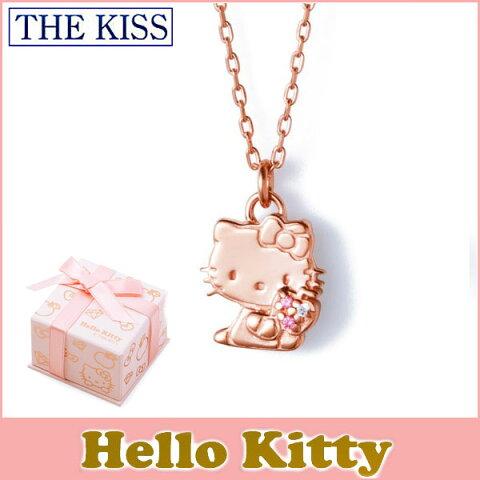 あす楽/即納 【ハローキティ×THE KISSコラボ】 THE KISS シルバー ネックレス 【レディース販売】 SV925製 ピンクコーティング x キュービックジルコニア KITTY-10CB 記念日
