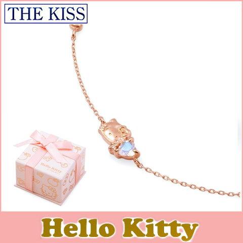 【ハローキティxTHE KISSコラボ】 HELLO KITTY ブレスレット 18cm THE KISS sweets K10 ピンクゴールド ブレスレット ロイヤルブルームーンストーン x ピンクサファイア リボン ハート KITTY-31DM ホワイトデー