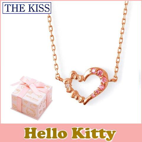 【ハローキティ×THE KISSコラボ】 THE KISS シルバー ネックレス 【レディース販売】 SV925製 リボンxハートモチーフ ピンクコーティング x キュービックジルコニア KITTY-25CB 記念日