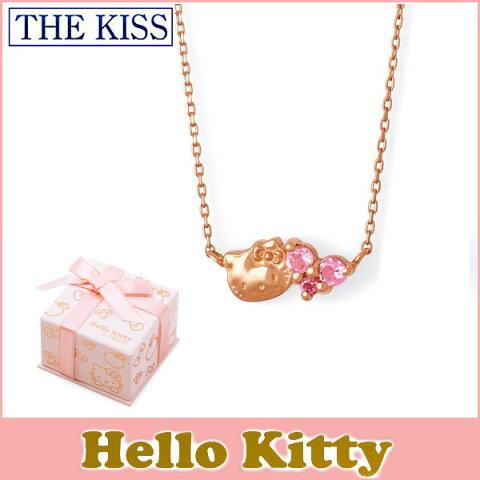送料無料 【HELLO KITTYxTHE KISSコラボ】 THE KISS Sweets ピンクトルマリン K10 ピンク ゴールド ネックレス レディース 40cm ハロー キティー ハート THEKISSネックレス KITTY-29PT 記念日