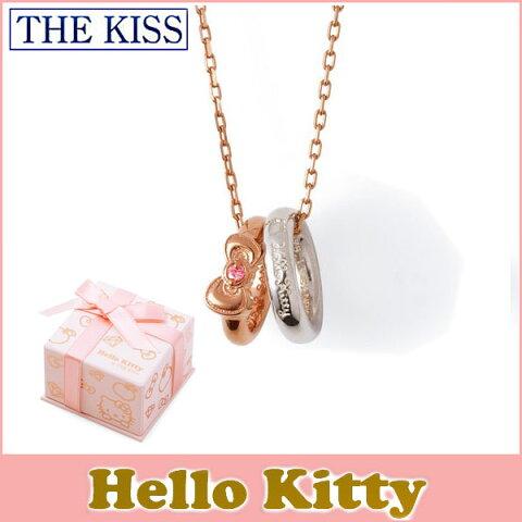 ハロー キティー THE KISS シルバー ネックレス 【レディース販売】 SV925製 リボンモチーフ ピンクコーティング x キュービックジルコニア KITTY-20CB 記念日