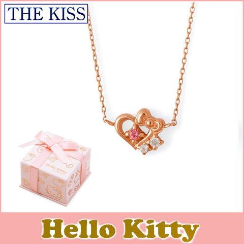 送料無料 【HELLO KITTYxTHE KISSコラボ】 THE KISS Sweets ピンクトルマリン x クォーツ K10 ピンク ゴールド ネックレス レディース 40cm ハロー キティー THEKISSネックレス KITTY-30PT 記念日