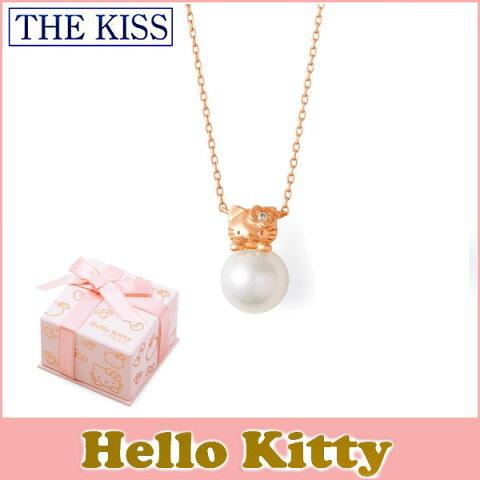 送料無料 【HELLO KITTYxTHE KISSコラボ】 THE KISS Sweets ダイヤモンド x パール K10 ピンク ゴールド ネックレス レディース 40cm THEKISSネックレス KITTY-39DM ホワイトデー