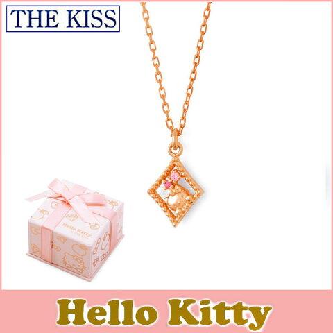 【ハローキティ×THE KISSコラボ】 THE KISS シルバー ネックレス 【レディース販売】 SV925製 ピンクコーティング x キュービックジルコニア KITTY-38CB 記念日